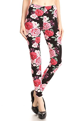 Leggings Mania Women's Roses Print High Waist Soft Leggings Black Pink Rose Clusters One Size Fits Most  0 12