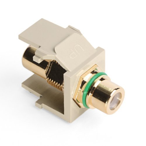 (Leviton 40830-BIV QuickPort RCA, Gold-Plated Connector with Green Stripe, Ivory)
