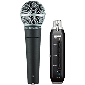 Shure SM58-X2U Cardioid Dynamic Microphone with X2U XLR-to-USB Signal Adapter