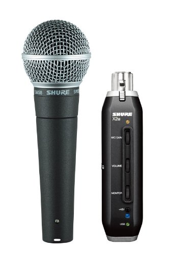 Shure SM58-X2U Cardioid Dynamic Microphone with X2U XLR-to-USB Signal Adapter by Shure