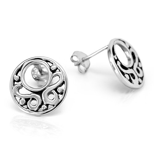 925 Oxidized Sterling Silver Open Filigree Circle Round 13 mm Post Stud Earrings - Open Filigree