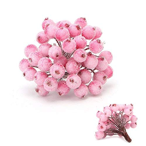 40 Branches Artificial Christmas Berries,Artificial Holly Berries Artificial Flower Decor Mini Christmas Frosted Fruit Berry,Xmas Foam Frosted Fruit Artificial for Wedding,Party,Birthday,DIY(Pink)