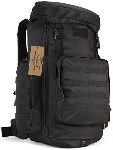 ArcEnCiel 70-85L Adjustable Capacity Outdoor Sports Bag Military Tactical Large Waterproof Molle Backpack Hiking Camping Trekking Gym Bags -Rain Cover Included from ArcEnCiel