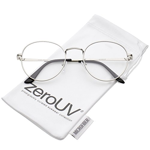 zeroUV - Classic Slim Metal Frame Clear Flat Lens Round Eyeglasses 52mm ()
