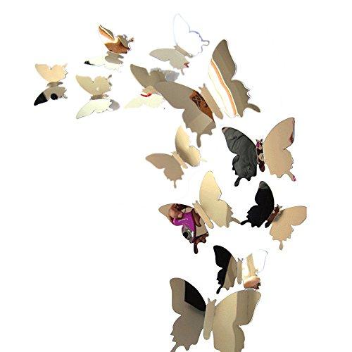YUNIAO Wall Stickers Decal Butterflies 3D Mirror Wall Art Home Decors,PVC Sticker -