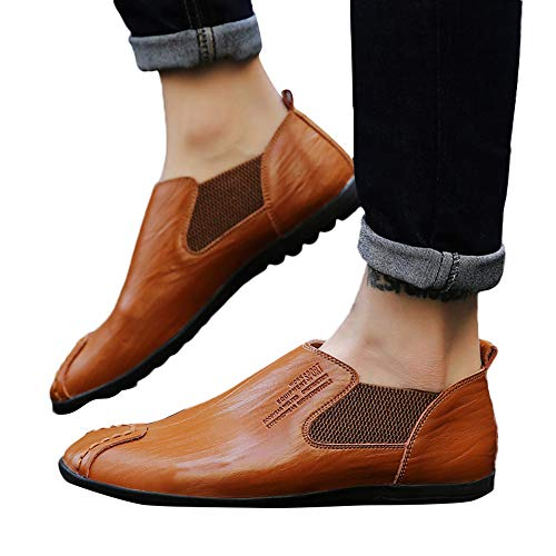 (Todaies Casual Men's Flat Single Leather Shoes Wear Resistant Solid Color Business)