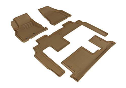 3D MAXpider Complete Set Custom Fit All-Weather Floor Mat for Select Chevrolet Traverse Models – Kagu Rubber (Tan)