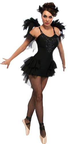 [Rubie's Costume Swan Dress With Wings Headpiece and Sleevelettes, Black, Large] (Black Swan Costumes For Halloween)