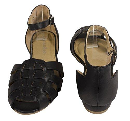 Sandalo Piatto Da Donna Con Cinturino In Pelle Intrecciata Stile Lustacious Con Cinturino Alla Caviglia Cinturino Nero