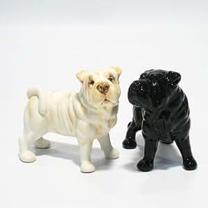 Shar Pei Dog Ceramic Figurine Salt Pepper Shaker 00002 Ceramic Handmade Dog Lover Gift Collectible Home Decor Art and Crafts
