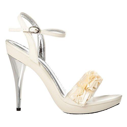 Womens Ladies High Stiletto Heel Sandals with Ankle Strap & Ruffle Detailing Sandal Ivory ZEcS3K