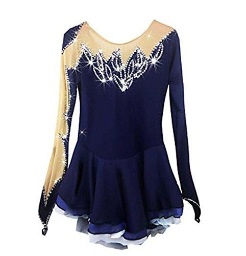 Femme Fille Longues Tenue Haute Blue Yameijia Manches Élasticité Spandex Patinage Robe Utilisation De Dark Artistique Elasthanne fxqIHS