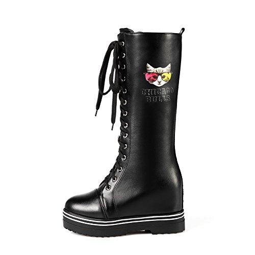 AllhqFashion Damen Gemischte Farbe PU Leder Hoher Absatz Rund Zehe Stiefel mit Metallisch, Schwarz, 38