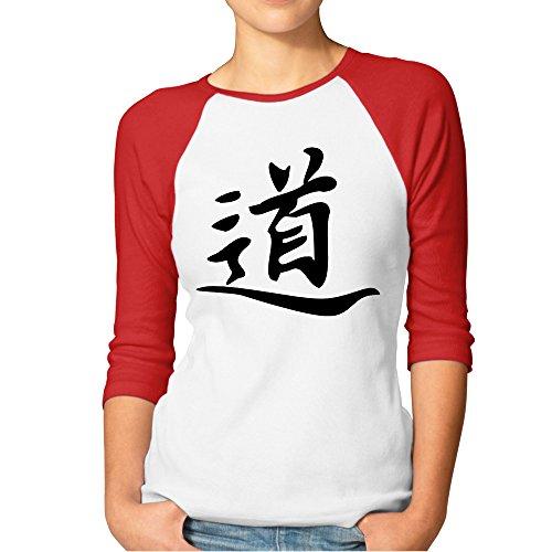 (DonSir Chinese Tao Symbol Women Round Collar Raglan Tshirt Red)