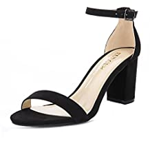 Eunicer Women's Single Band Classic Chunky Block High Heel Sandals with Ankle Strap Dress Shoes (Black and Nude)