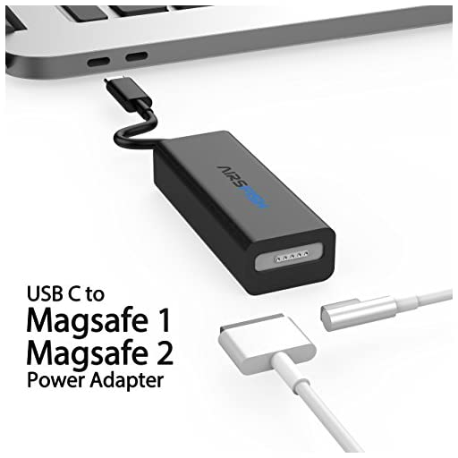 AirsFish Compatible Magsate to USB C Converter, USB Type C to Magsate 1 (L- Tip) and Magsate 2 (T-Tip) Power Adapter Connector Cable Compatible MacBook, MacBook Pro, Switch/Laptop/Phone (Black)