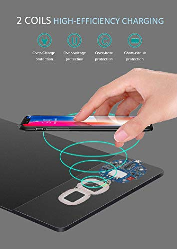 DUOPAD Qi-Certified Fast Wireless Charging Mouse Pad - Gaming/Office Space Design with 2 x 10W Coils & LED Indicator - Compatible with; iPhone, Samsung, LG, BlackBerry, Google, and More (Black)