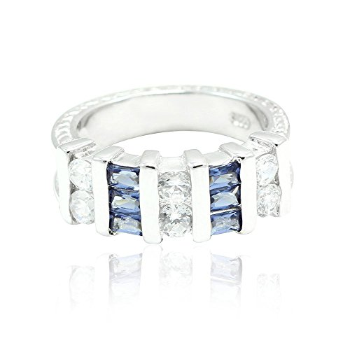 Blue Apple Co. Half Eternity Women Band Ring Round Baguette Cubic Zirconia 925 Sterling Silver Choose Color (Sapphire Half Band Eternity)