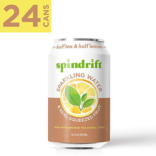 (Spindrift Sparkling Water,  Half Tea & Half Lemon Flavored, Made with Real Squeezed Fruit, 12 Fluid Ounce Cans, Pack of 24 (Only 5 Calories per Seltzer Water Can))