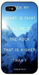When my heart is faint, lead me to the rock that is higher than I - Psalm 61:12 - Bible verse iPhone 4 / 4s black plastic case.