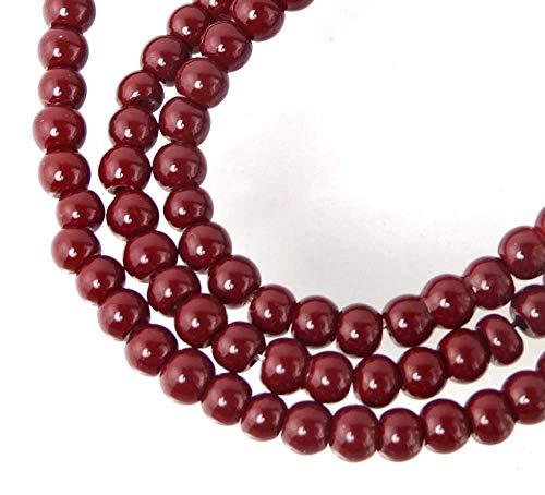 100 Czech Glass Round Beads - Maroon/Amaranth 4mm