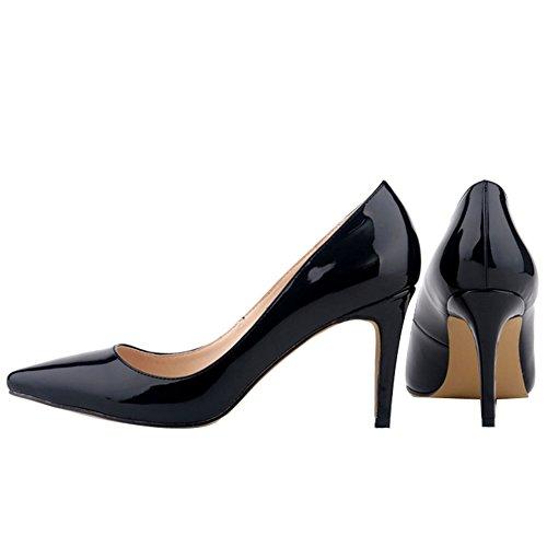 Sexy de de Boda Bombas Mujer Stiletto Zapatos Negro Ochenta PU Puntiaguda WnUxBW