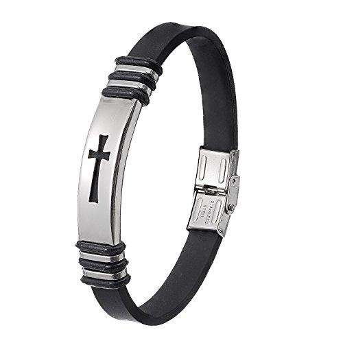 Christian Wristband for Men - Premium Stainless Steel Jewelry - Black Rubber Cross Bracelet - Best Seller Christmas Gift -