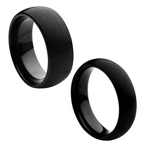 Wedding Band Ring Set For Him & Her - 8MM/6MM Tungsten Carbide Classic Domed Black Enamel Brushed Finish Wedding Band Ring ()