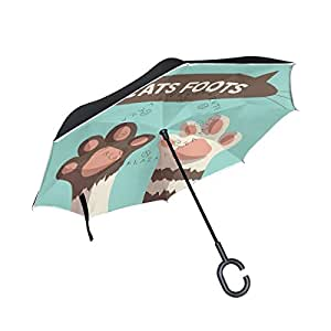 ALAZA Cartoon Cat Face Paw Print Inverted Umbrella, Large Double Layer Outdoor Rain Sun Car Reversible Umbrella