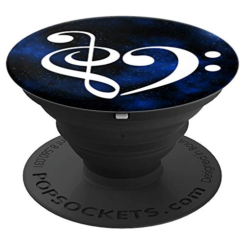 Treble Clef + Bass Clef Heart Music Bassist Milky Way Stars - PopSockets Grip and Stand for Phones and Tablets
