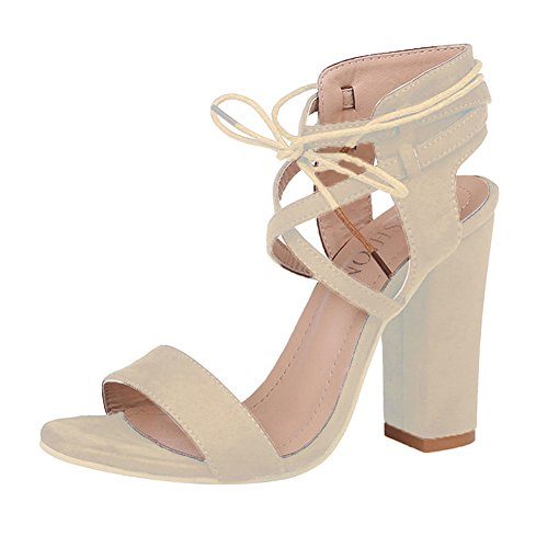 Hibote Womens Strap Up Ankle Tie Ladies Sandals Ankle High Chunky Heels Party Open Toe Shoes Beige