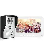 Kit de Timbre de Video Kit de interfono Timbre Sistema de cámara de Seguridad Inteligente Sistema de Seguridad para el hogar con función de visión Nocturna TFT LCD Screem de 7 Pulgadas(US Plug)