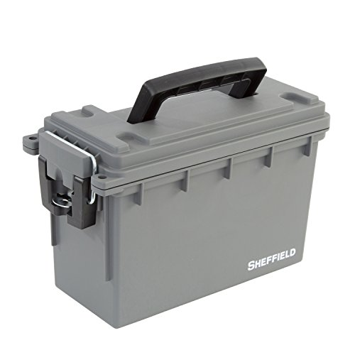(Sheffield 12628 Gray Plastic Field Utility Boxes, 30 Caliber Ammo Storage Can)