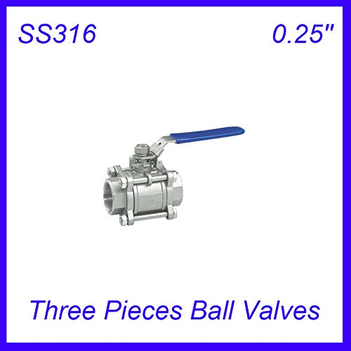 (Fincos 0.25'' SS316 Female Industry Three Pieces Ball Valves Pull Handle 3pc Body Full Port for Water,Oil and Gas)