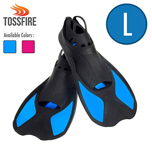Floating Swim Fins - Universal Flippers Short Blade Floating Swimming Fins for US Size L Ankle Width 3.1 Inch Thermoplastic Rubber Travel Fins for Surfing Swimming Diving Snorkeling Watersports - Blue
