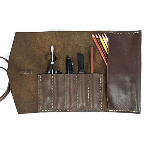 Alta Andina Leather Pencil Roll | Pen and Pencil Case w/Side Pouch | Full Grain, Vegetable Tanned Leather (Brown - Café)