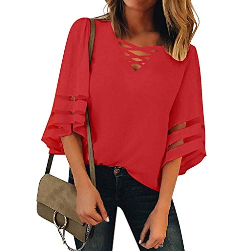 Zlolia Women's Solid Color Cut Half Sleeve Long T-Shirt V-Neck Strap Pullover Summer Fashion Casual New Top Blouses Red (Dockers New Womens)