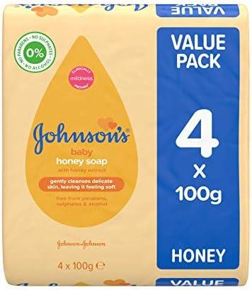 Jabón de miel Johnsons Baby, 4 x 100 g: Amazon.es: Salud y cuidado personal