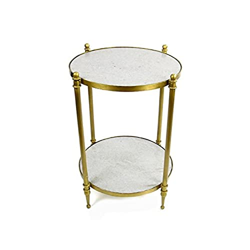 Vagabond Vintage 2 Tiered Brass Finish Iron Side Table With Sanded White Marble  Top