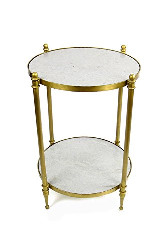 Brass Side Table (Vagabond Vintage, 2 Tiered Brass Finish Iron Side Table with Sanded White Marble)