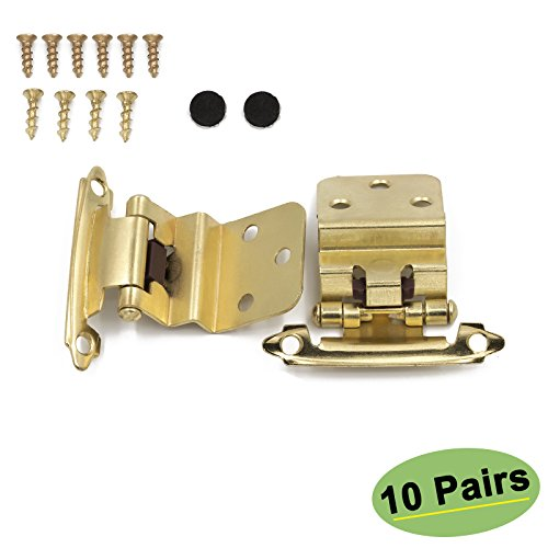 Kitchen Cabinet Hardware Hinges Inset 10 Pairs(20Pack) - Homdiy SCH38BB 3/8inch Gold Hinges for Cabinets Self-Closing Face Mount Brushed Brass Inset Hinges Furniture Harware
