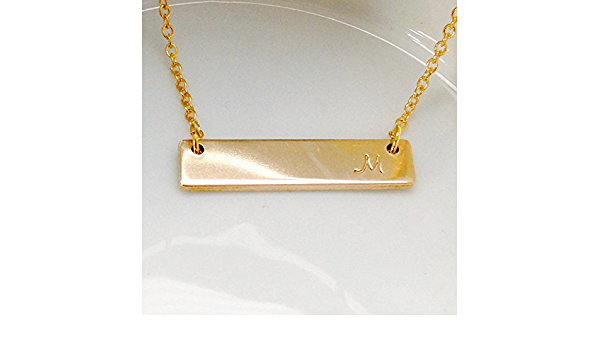 Nameplate Necklace 14kt Gold Filled Thin Bar Necklace 925 Sterling Silver Horizontal Bar Necklace 14kt Rose Gold Filled Thin Bar Necklace