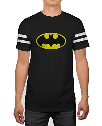 Batman+Shirts Products : DC Comics Batman Classic Logo Striped Sleeves Black T-shirt