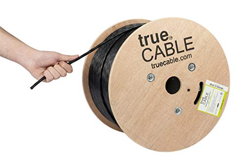 (Cat6A Riser (CMR), 1000ft, Black, 23AWG 4 Pair Solid Bare Copper, 750MHz, ETL Listed, Unshielded Twisted Pair (UTP), Bulk Ethernet Cable, trueCABLE)