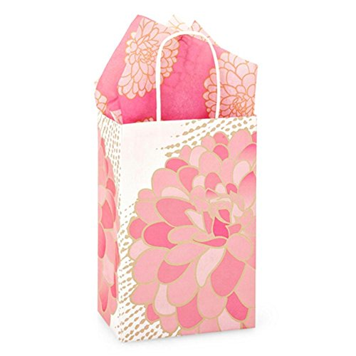 Gilded Blooms Paper Shopping Bags - Rose Size - 5 1/4 x 3 1/2 x 8 1/4in. - 200 Pack by NW