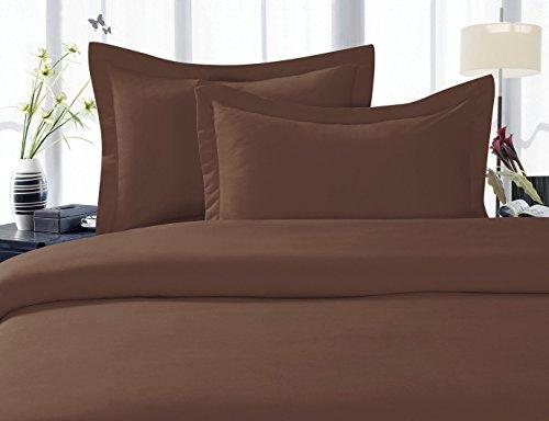 LinenTown 600-Thread-Count Egyptian Cotton Duvet Cover Set - King, Chocolate (Duvet Chocolate)