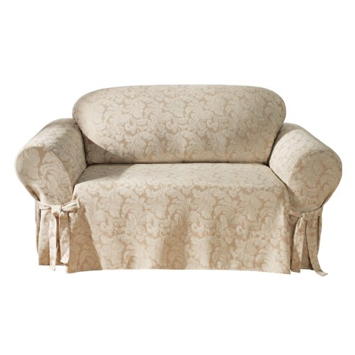 - SureFit Scroll 1-Piece - Loveseat Slipcover  - Champagne (SF24986)