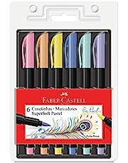 Caneta Ponta Pincel, Faber-Castell, Supersoft Brush, 6 Cores Pastel