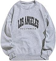 Women Oversized Brooklyn New York Letter Print Graphic Fleece Sweatshirt Crewneck Long Sleeve Pullover Jacket