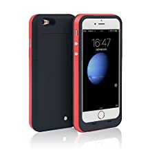 iPhone 6S PLUS (NOT for iPhone 6 / 6s) Case Charger Battery [Extra Bonus-Tempered Glass Screen Protector], i.VALUX 6800mAh External Battery Backup Protective Charger Case for iPhone 6 Plus (Red)